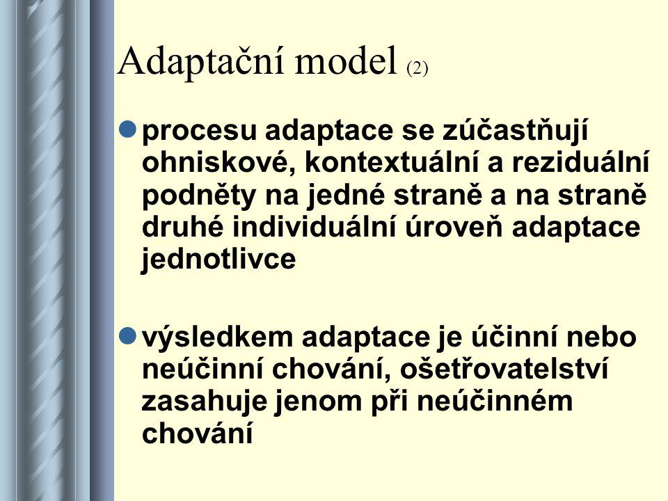 Adaptační model (2) procesu adaptace se zúčastňují ohniskové, kontextuální a reziduální podněty na jedné straně a na straně druhé individuální úroveň