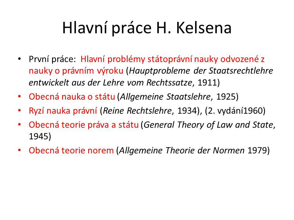 Hlavní práce H. Kelsena První práce: Hlavní problémy státoprávní nauky odvozené z nauky o právním výroku (Hauptprobleme der Staatsrechtlehre entwickel