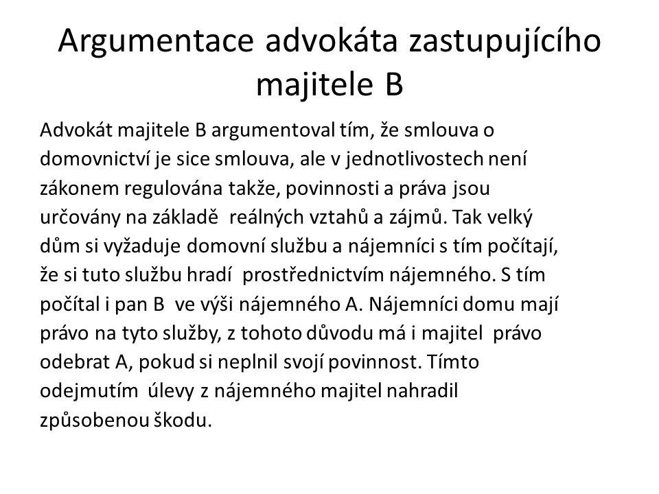 Argumentace advokáta zastupujícího majitele B Advokát majitele B argumentoval tím, že smlouva o domovnictví je sice smlouva, ale v jednotlivostech nen