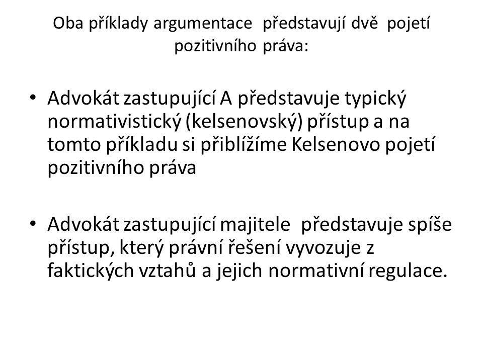 Oba příklady argumentace představují dvě pojetí pozitivního práva: Advokát zastupující A představuje typický normativistický (kelsenovský) přístup a n