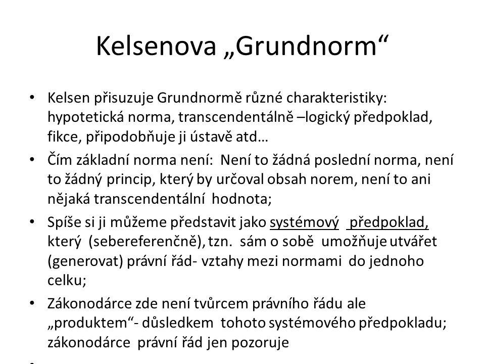 """Kelsenova """"Grundnorm"""" Kelsen přisuzuje Grundnormě různé charakteristiky: hypotetická norma, transcendentálně –logický předpoklad, fikce, připodobňuje"""