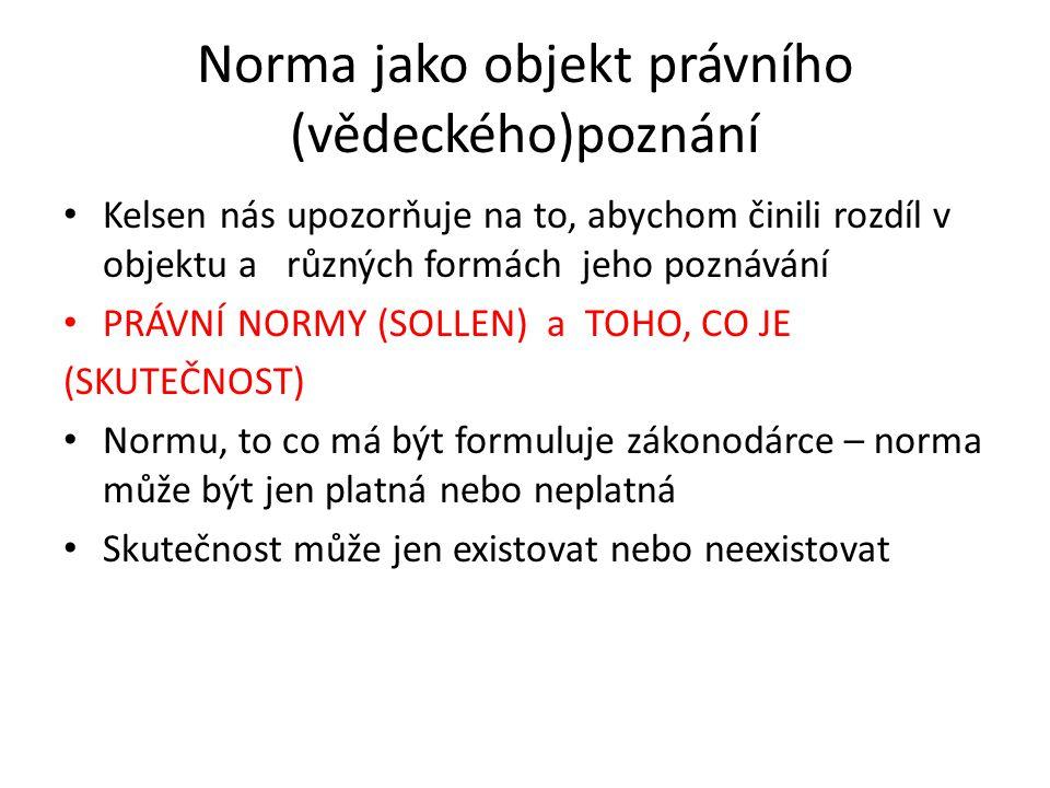 Norma jako objekt právního (vědeckého)poznání Kelsen nás upozorňuje na to, abychom činili rozdíl v objektu a různých formách jeho poznávání PRÁVNÍ NOR