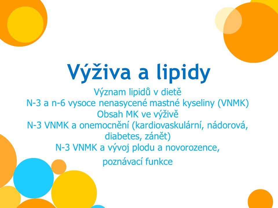 Výživa a lipidy Význam lipidů v dietě N-3 a n-6 vysoce nenasycené mastné kyseliny (VNMK) Obsah MK ve výživě N-3 VNMK a onemocnění (kardiovaskulární, n