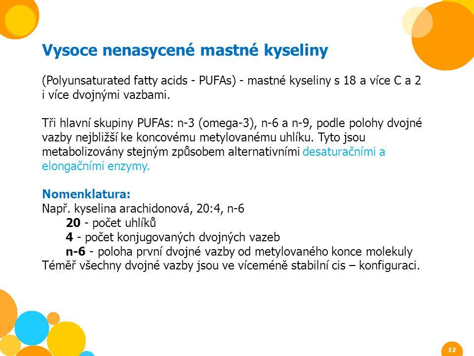 Vysoce nenasycené mastné kyseliny (Polyunsaturated fatty acids - PUFAs) - mastné kyseliny s 18 a více C a 2 i více dvojnými vazbami. Tři hlavní skupin