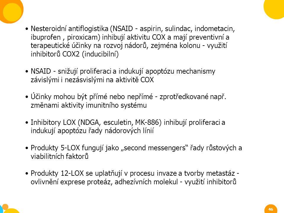 Nesteroidní antiflogistika (NSAID - aspirin, sulindac, indometacin, ibuprofen, piroxicam) inhibují aktivitu COX a mají preventivní a terapeutické účin