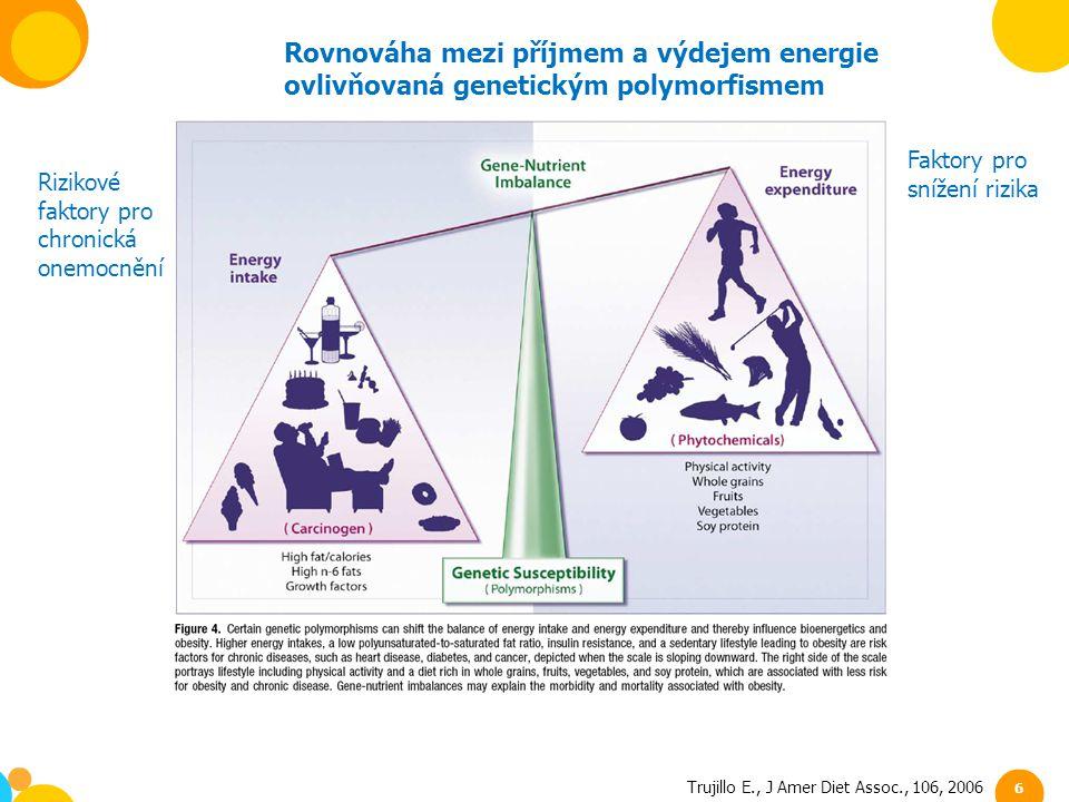 Trujillo E., J Amer Diet Assoc., 106, 2006 6 Rovnováha mezi příjmem a výdejem energie ovlivňovaná genetickým polymorfismem Rizikové faktory pro chroni