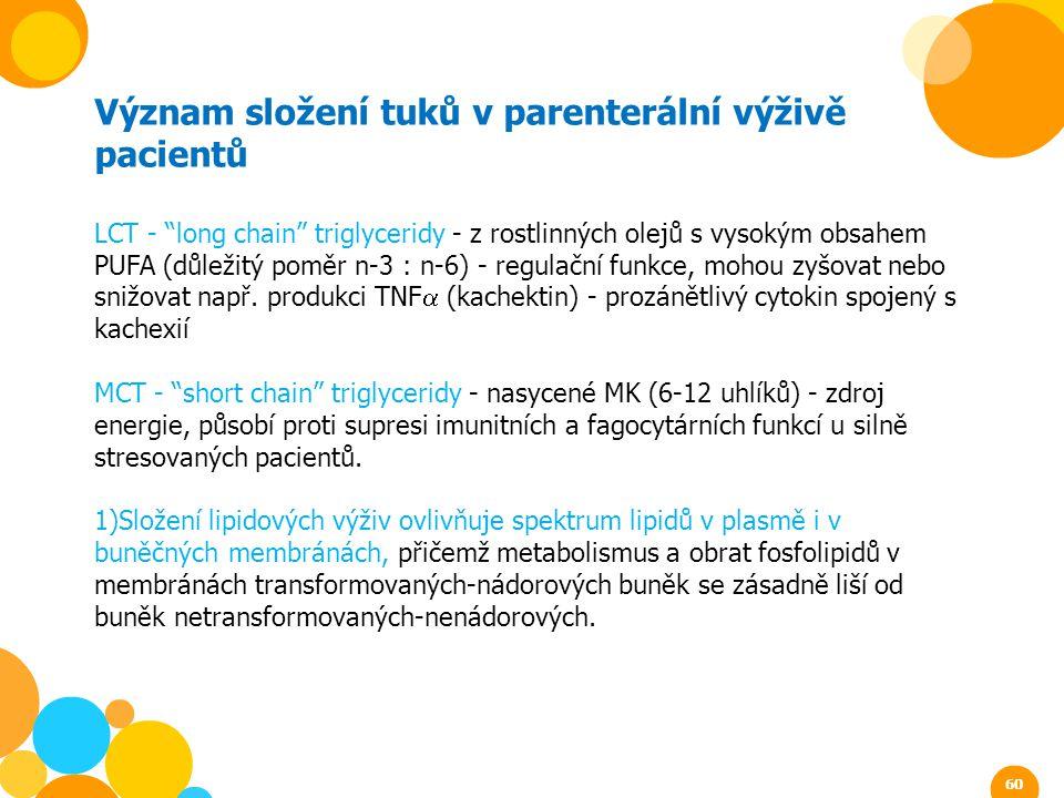"""Význam složení tuků v parenterální výživě pacientů LCT - """"long chain"""" triglyceridy - z rostlinných olejů s vysokým obsahem PUFA (důležitý poměr n-3 :"""