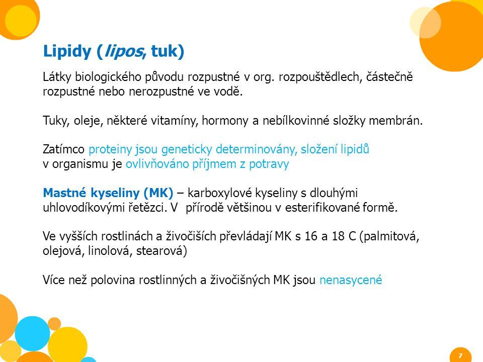 Lipidy (lipos, tuk) Látky biologického původu rozpustné v org. rozpouštědlech, částečně rozpustné nebo nerozpustné ve vodě. Tuky, oleje, některé vitam