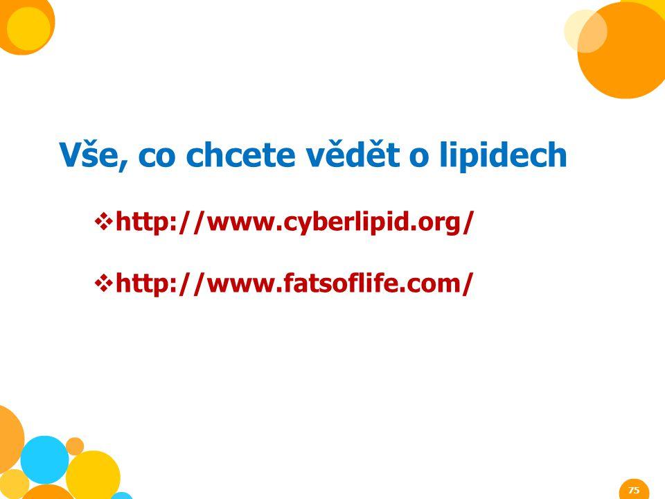 Vše, co chcete vědět o lipidech  http://www.cyberlipid.org/  http://www.fatsoflife.com/ 75