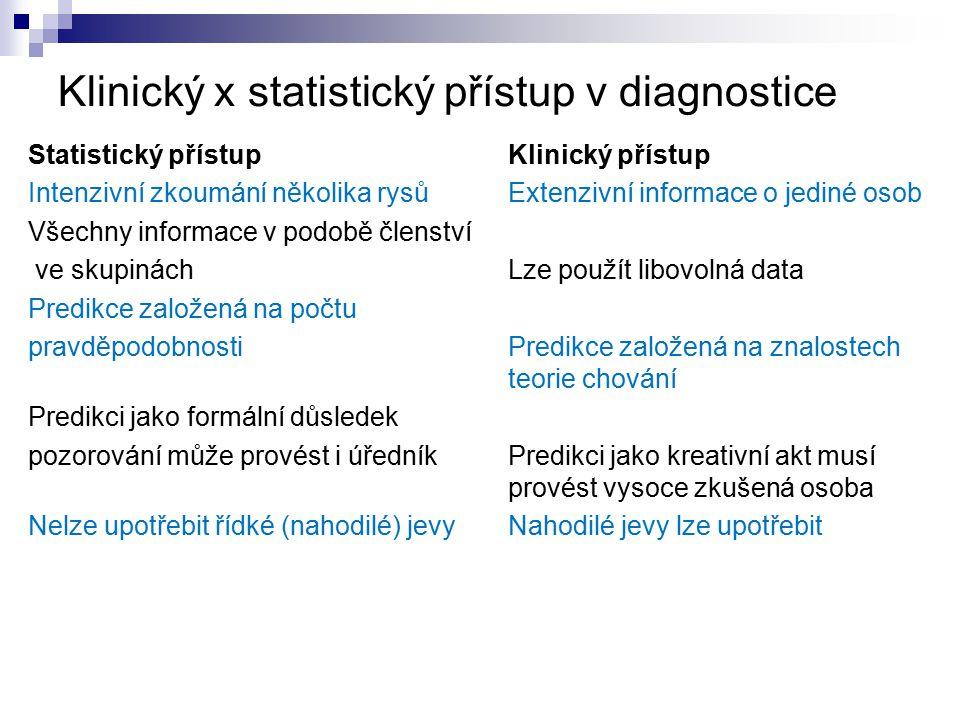 Klinický x statistický přístup v diagnostice Statistický přístup Klinický přístup Intenzivní zkoumání několika rysů Extenzivní informace o jediné osob