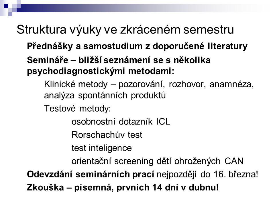 Struktura výuky ve zkráceném semestru Přednášky a samostudium z doporučené literatury Semináře – bližší seznámení se s několika psychodiagnostickými m