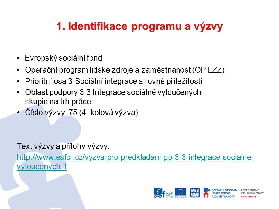 1. Identifikace programu a výzvy Evropský sociální fond Operační program lidské zdroje a zaměstnanost (OP LZZ) Prioritní osa 3 Sociální integrace a ro