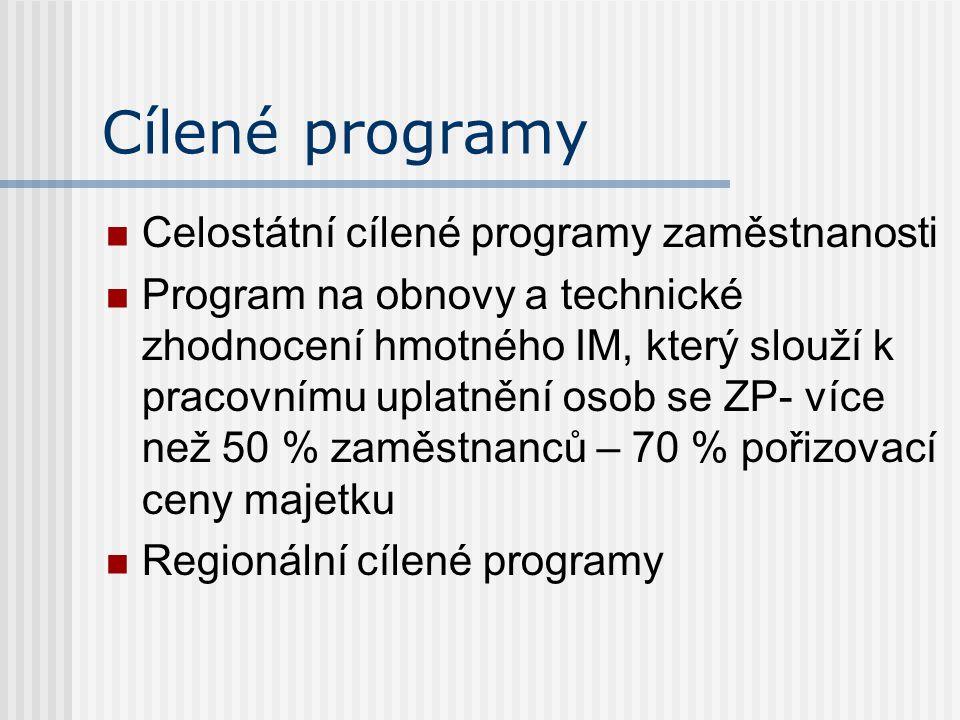 Cílené programy Celostátní cílené programy zaměstnanosti Program na obnovy a technické zhodnocení hmotného IM, který slouží k pracovnímu uplatnění osob se ZP- více než 50 % zaměstnanců – 70 % pořizovací ceny majetku Regionální cílené programy