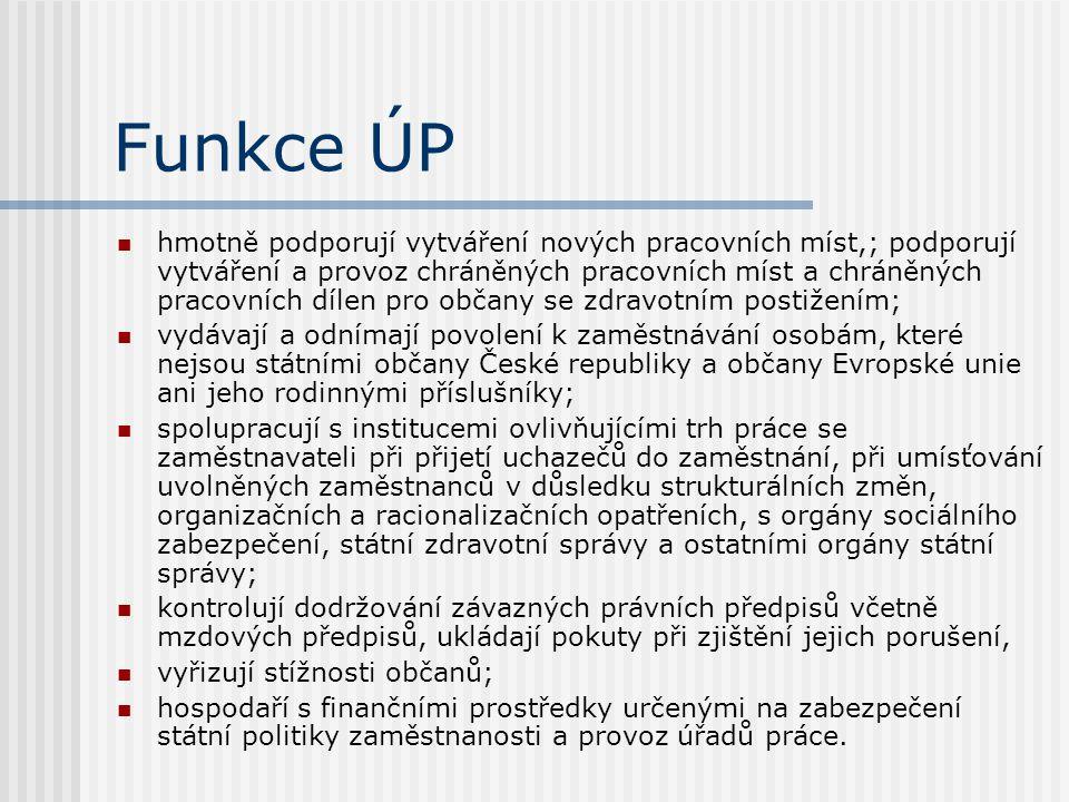 Funkce ÚP hmotně podporují vytváření nových pracovních míst,; podporují vytváření a provoz chráněných pracovních míst a chráněných pracovních dílen pro občany se zdravotním postižením; vydávají a odnímají povolení k zaměstnávání osobám, které nejsou státními občany České republiky a občany Evropské unie ani jeho rodinnými příslušníky; spolupracují s institucemi ovlivňujícími trh práce se zaměstnavateli při přijetí uchazečů do zaměstnání, při umísťování uvolněných zaměstnanců v důsledku strukturálních změn, organizačních a racionalizačních opatřeních, s orgány sociálního zabezpečení, státní zdravotní správy a ostatními orgány státní správy; kontrolují dodržování závazných právních předpisů včetně mzdových předpisů, ukládají pokuty při zjištění jejich porušení, vyřizují stížnosti občanů; hospodaří s finančními prostředky určenými na zabezpečení státní politiky zaměstnanosti a provoz úřadů práce.