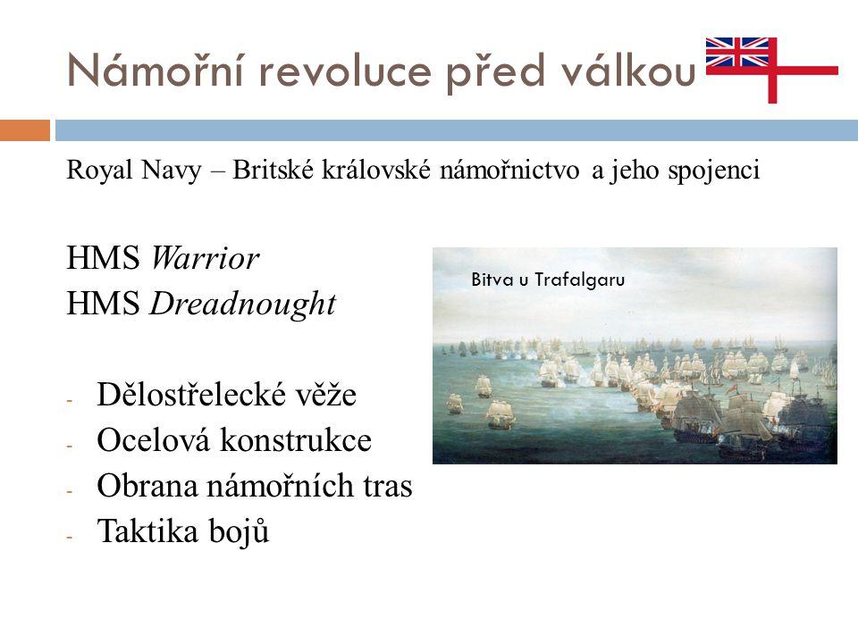 Námořní revoluce před válkou Royal Navy – Britské královské námořnictvo a jeho spojenci HMS Warrior HMS Dreadnought - Dělostřelecké věže - Ocelová kon