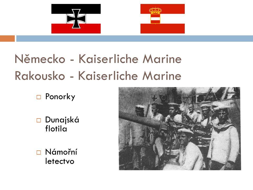 Německo - Kaiserliche Marine Rakousko - Kaiserliche Marine  Ponorky  Dunajská flotila  Námořní letectvo