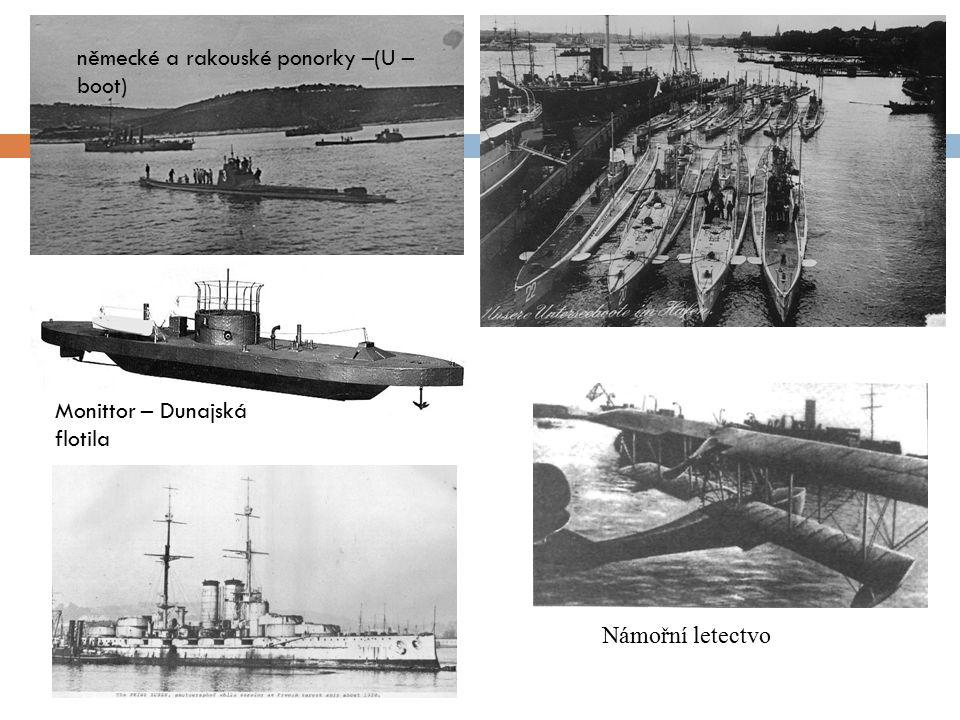 německé a rakouské ponorky –(U – boot) Monittor – Dunajská flotila Námořní letectvo