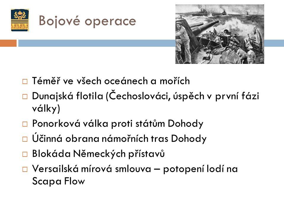Bojové operace  Téměř ve všech oceánech a mořích  Dunajská flotila (Čechoslováci, úspěch v první fázi války)  Ponorková válka proti státům Dohody 