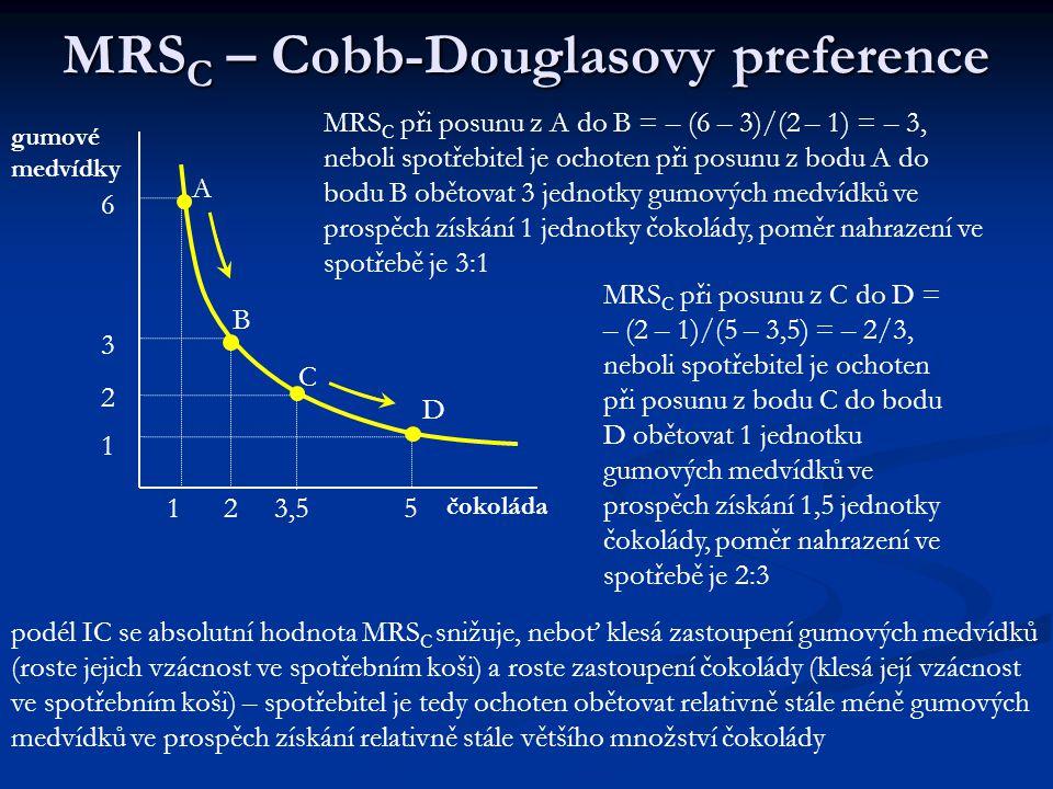 Mezní míra substituce ve spotřebě MMMMarginal Rate of Substitution in Consumption (MRSC) jjjjde o poměr, v němž je spotřebitel OCHOTEN nahrazo