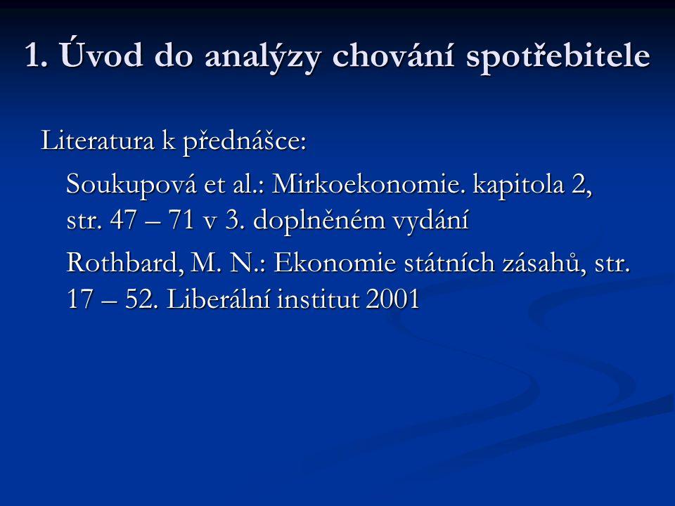 Literatura  Základní: Soukupová, J. et al.: Mikroekonomie Varian, H.R.: Mikroekonomie – moderní přístup (jakékoli vydání – pozn.: poslední české z r.