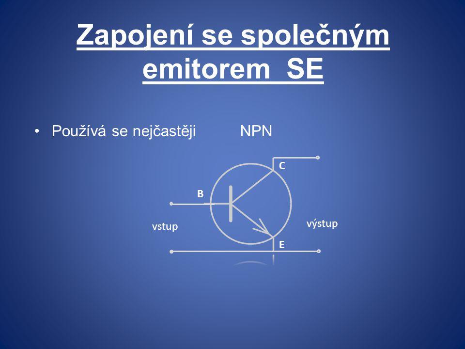 Zapojení se společným emitorem SE Používá se nejčastěji NPN E B C vstup výstup