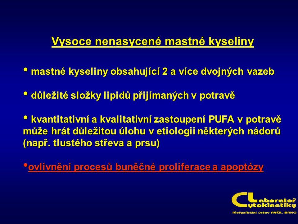 Vysoce nenasycené mastné kyseliny mastné kyseliny obsahující 2 a více dvojných vazeb mastné kyseliny obsahující 2 a více dvojných vazeb důležité složk