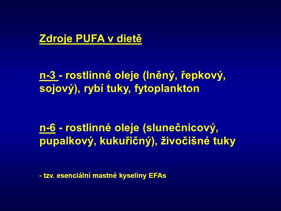 Zdroje PUFA v dietě n-3 - rostlinné oleje (lněný, řepkový, sojový), rybí tuky, fytoplankton n-6 - rostlinné oleje (slunečnicový, pupalkový, kukuřičný)