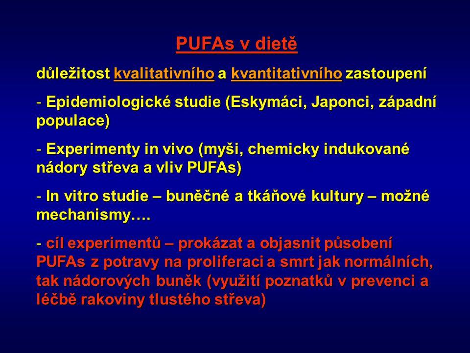PUFAs v dietě důležitost kvalitativního a kvantitativního zastoupení - Epidemiologické studie (Eskymáci, Japonci, západní populace) - Experimenty in v