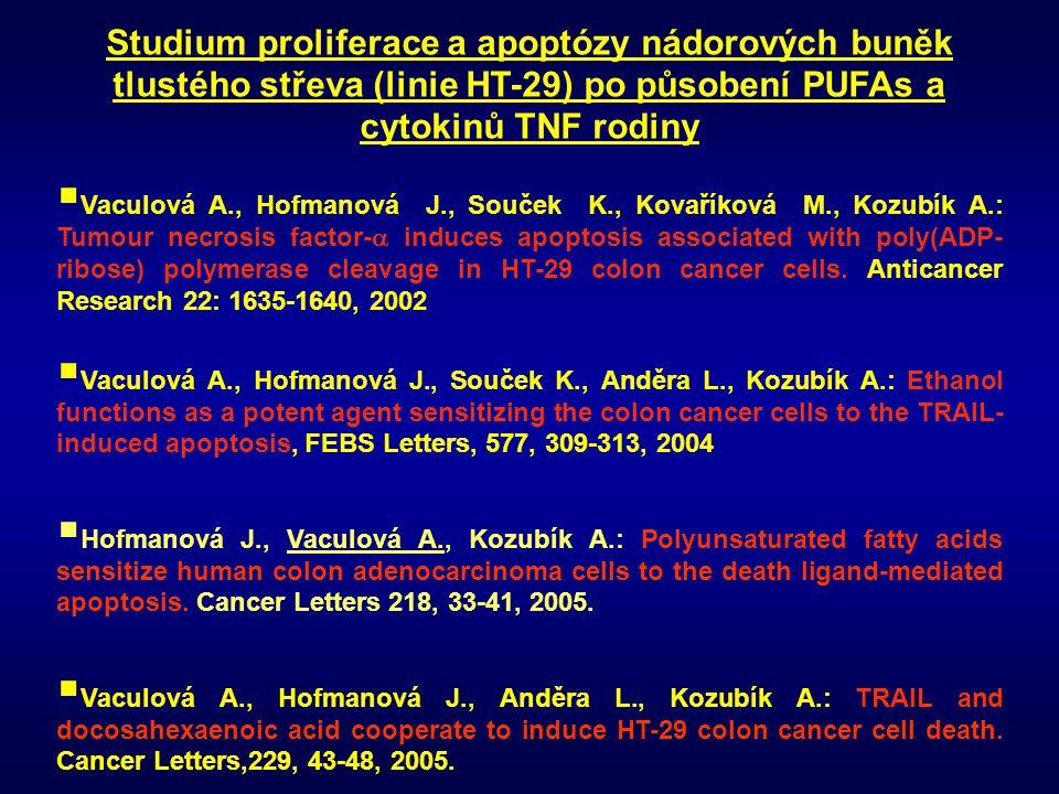 Studium proliferace a apoptózy nádorových buněk tlustého střeva (linie HT-29) po působení PUFAs a cytokinů TNF rodiny  Vaculová A., Hofmanová J., Sou
