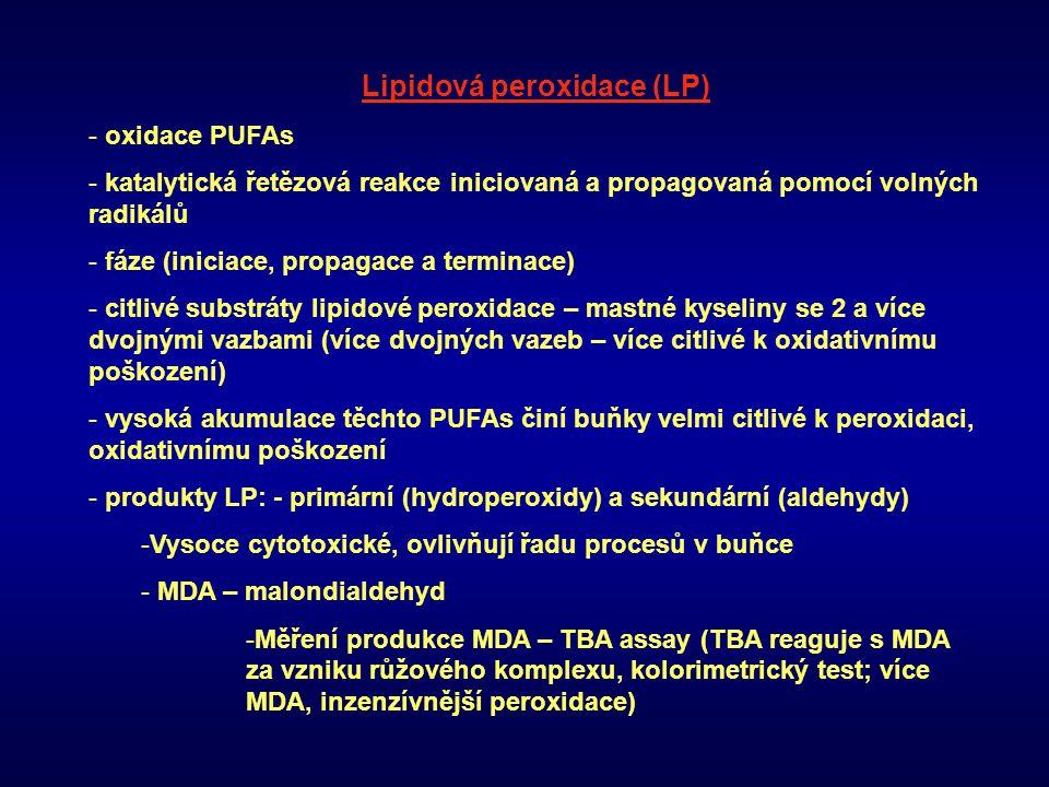 Lipidová peroxidace (LP) - oxidace PUFAs - katalytická řetězová reakce iniciovaná a propagovaná pomocí volných radikálů - fáze (iniciace, propagace a