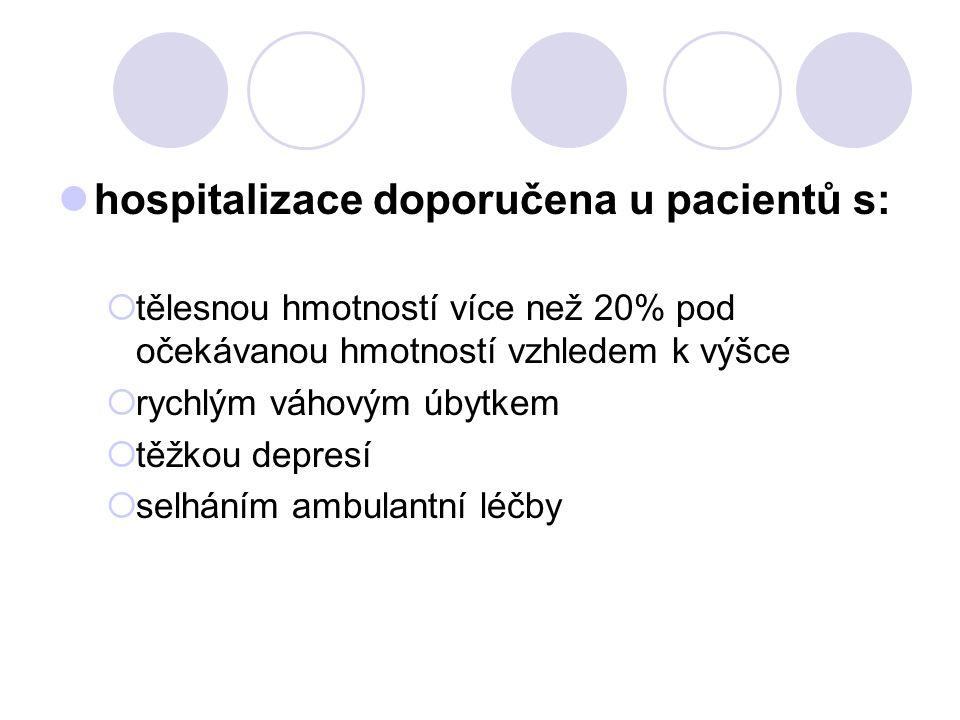 hospitalizace doporučena u pacientů s:  tělesnou hmotností více než 20% pod očekávanou hmotností vzhledem k výšce  rychlým váhovým úbytkem  těžkou