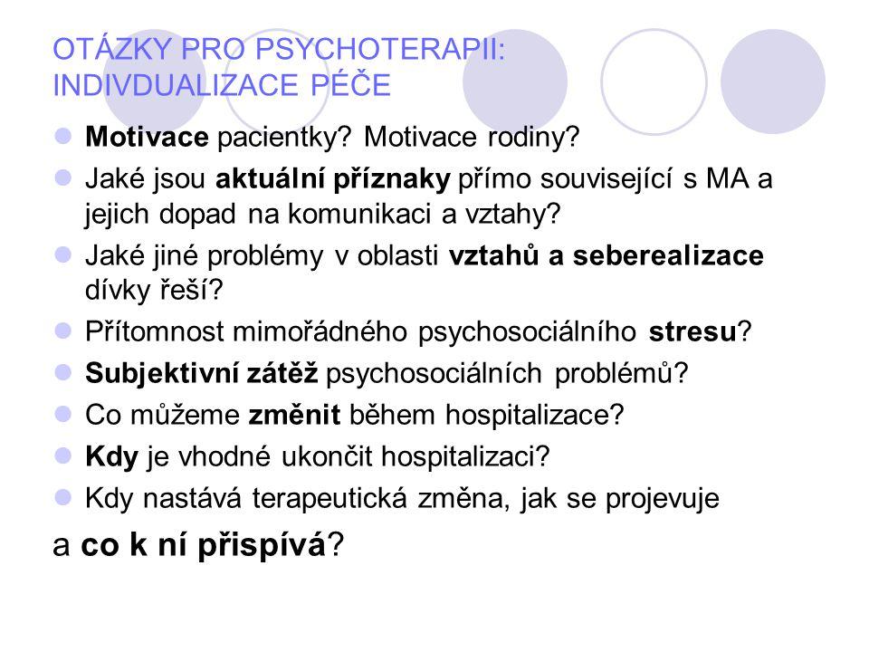 OTÁZKY PRO PSYCHOTERAPII: INDIVDUALIZACE PÉČE Motivace pacientky? Motivace rodiny? Jaké jsou aktuální příznaky přímo související s MA a jejich dopad n