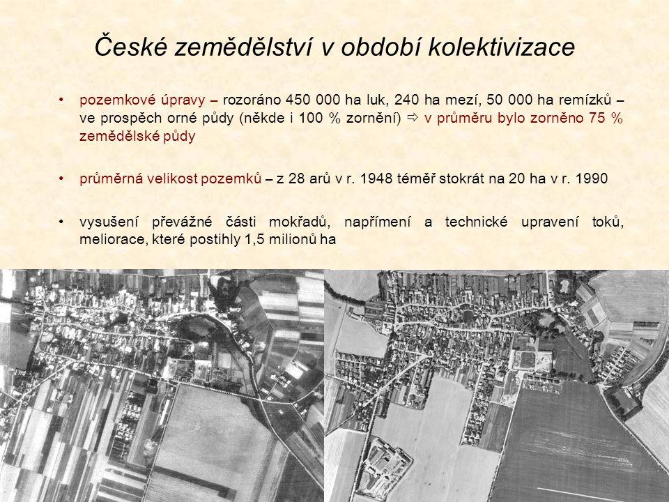 České zemědělství v období kolektivizace pozemkové úpravy – rozoráno 450 000 ha luk, 240 ha mezí, 50 000 ha remízků – ve prospěch orné půdy (někde i 100 % zornění)  v průměru bylo zorněno 75 % zemědělské půdy průměrná velikost pozemků – z 28 arů v r.