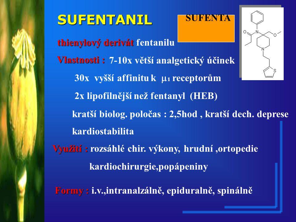 SUFENTANIL thienylový derivát thienylový derivát fentanilu 7-10x větší analgetický účinek 30x vyšší affinitu k  1 receptorům 2x lipofilnější než fentanyl (HEB) kratší biolog.