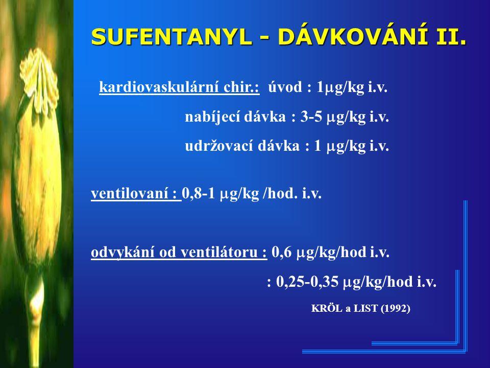 SUFENTANYL - DÁVKOVÁNÍ II.kardiovaskulární chir.: úvod : 1  g/kg i.v.