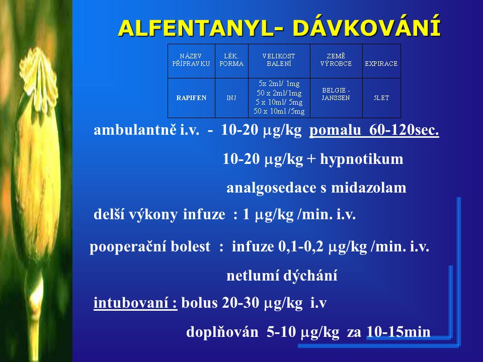 ALFENTANYL- DÁVKOVÁNÍ ambulantně i.v.- 10-20  g/kg pomalu 60-120sec.