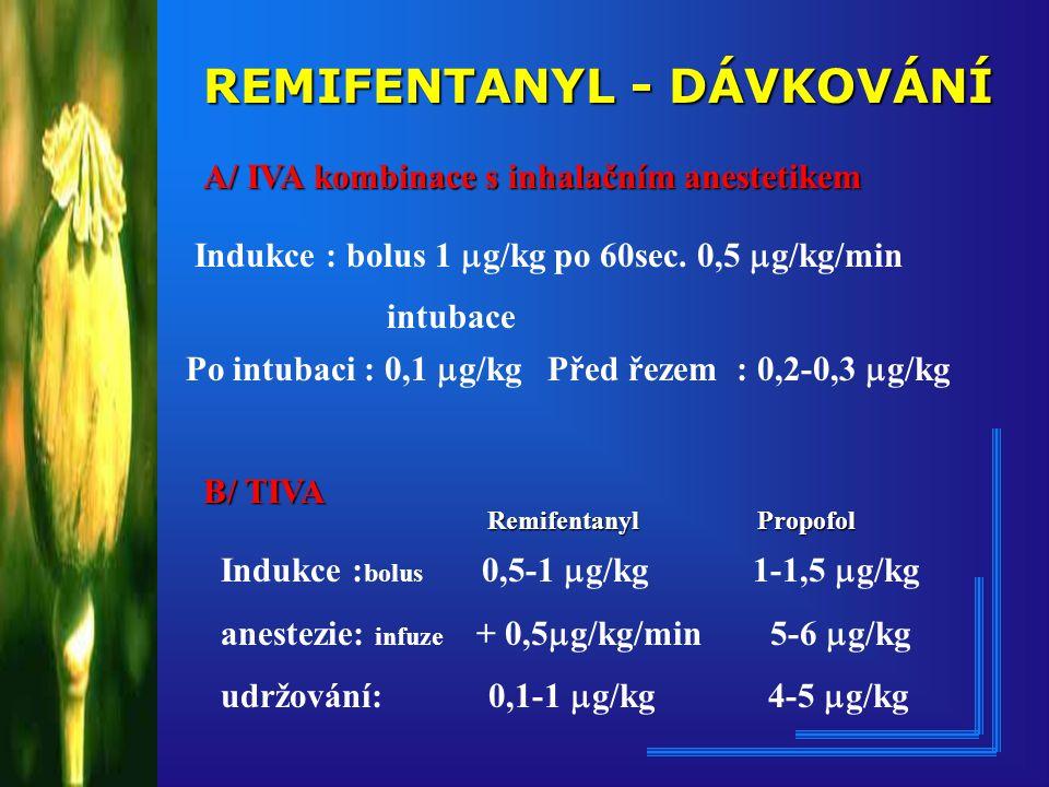 REMIFENTANYL - DÁVKOVÁNÍ A/ IVA kombinace s inhalačním anestetikem Indukce : bolus 1  g/kg po 60sec.