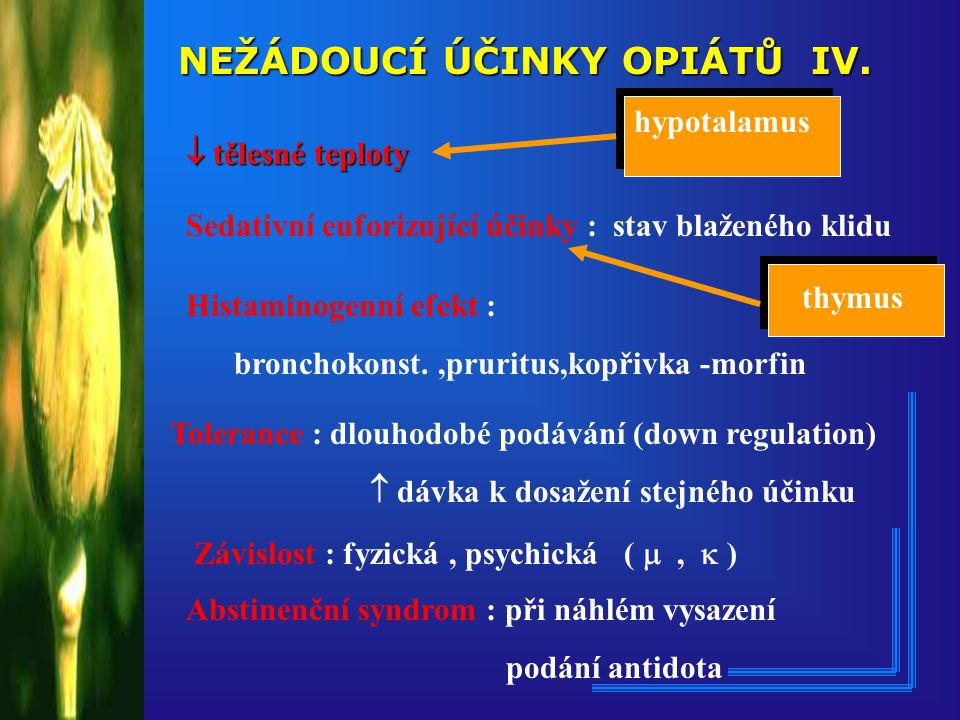 Dělení opioidů dle působení na opioidní receptory Opioidní agonisté : morfin, fentanyl(FENTANYL), sufentanyl(SUFENTA), alfentanil(RAPIFEN),remifentanil(ULTIVA), petidin(DOLSIN),piritramidum(DIPIDOLOR), codein,tilidin(VALORON),tramadol(TRAMAL) parcialní agonisté/antagonisté : buprenorfin(TEMGESIC),pentazocin(FORTRAL) butorfanol(BEFORAL),nalbufin(NUMBAIN) antagonisté : naloxon