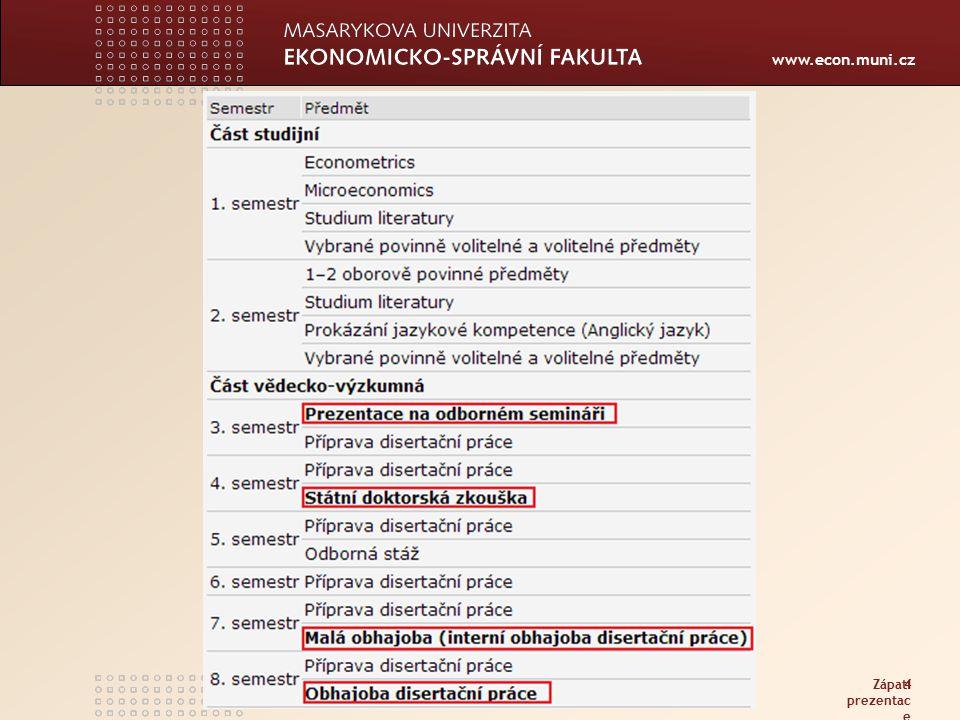 www.econ.muni.cz Zápatí prezentac e 4