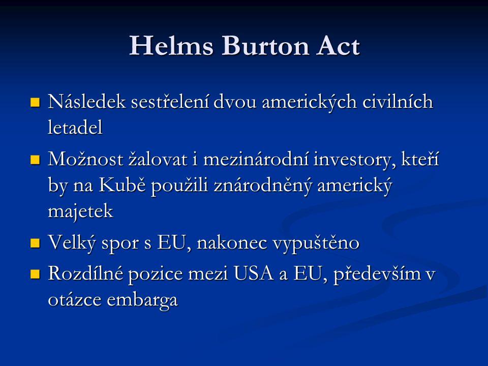 Helms Burton Act Následek sestřelení dvou amerických civilních letadel Následek sestřelení dvou amerických civilních letadel Možnost žalovat i mezinárodní investory, kteří by na Kubě použili znárodněný americký majetek Možnost žalovat i mezinárodní investory, kteří by na Kubě použili znárodněný americký majetek Velký spor s EU, nakonec vypuštěno Velký spor s EU, nakonec vypuštěno Rozdílné pozice mezi USA a EU, především v otázce embarga Rozdílné pozice mezi USA a EU, především v otázce embarga