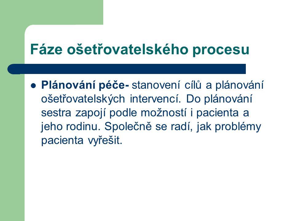 Fáze ošetřovatelského procesu Plánování péče- stanovení cílů a plánování ošetřovatelských intervencí. Do plánování sestra zapojí podle možností i paci