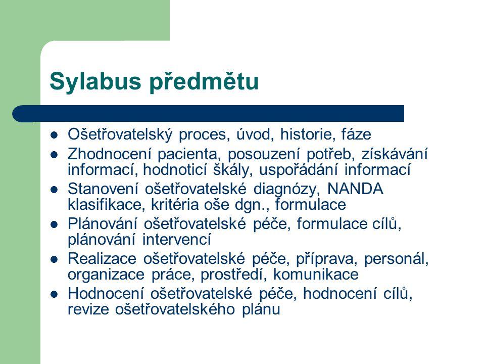 Sylabus předmětu Ošetřovatelský proces, úvod, historie, fáze Zhodnocení pacienta, posouzení potřeb, získávání informací, hodnoticí škály, uspořádání i