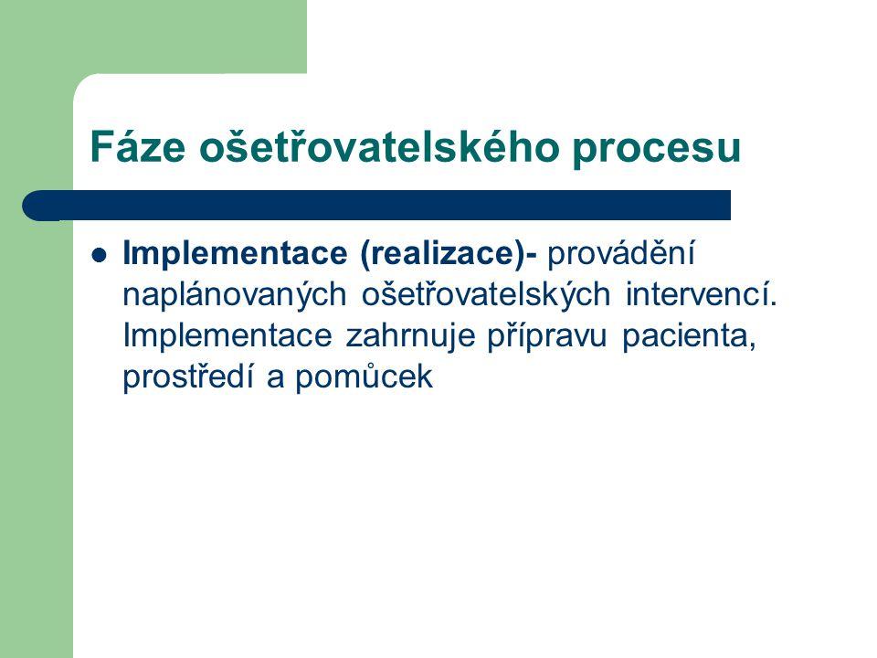 Fáze ošetřovatelského procesu Implementace (realizace)- provádění naplánovaných ošetřovatelských intervencí. Implementace zahrnuje přípravu pacienta,