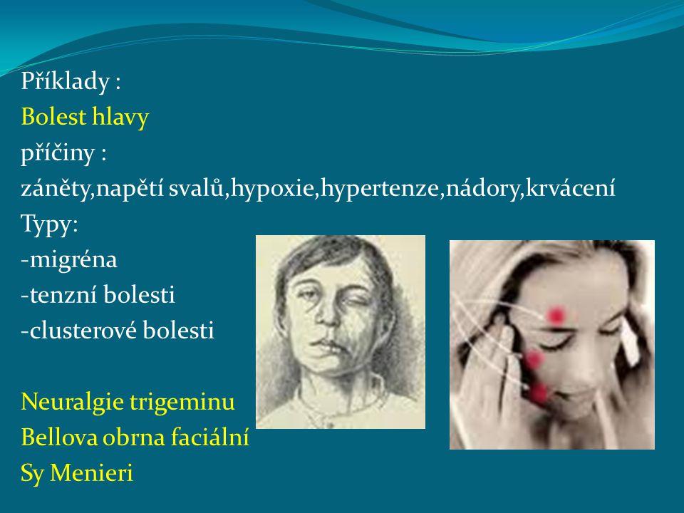 Příklady : Bolest hlavy příčiny : záněty,napětí svalů,hypoxie,hypertenze,nádory,krvácení Typy: -migréna -tenzní bolesti -clusterové bolesti Neuralgie
