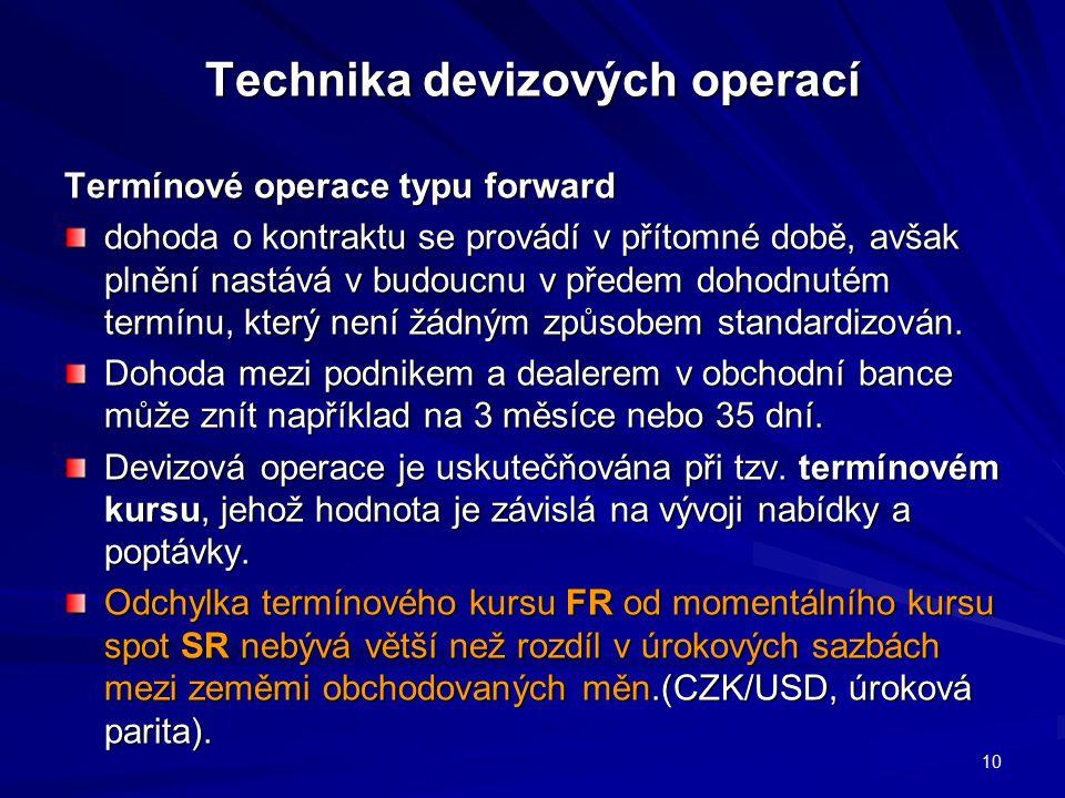 Technika devizových operací Termínové operace typu forward dohoda o kontraktu se provádí v přítomné době, avšak plnění nastává v budoucnu v předem dohodnutém termínu, který není žádným způsobem standardizován.