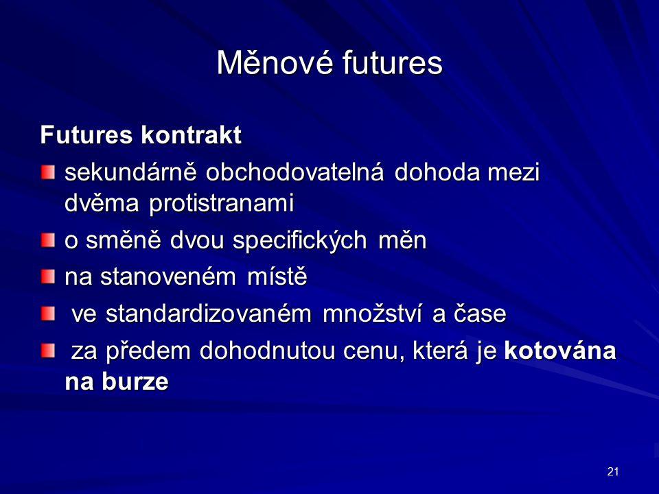 Měnové futures Futures kontrakt sekundárně obchodovatelná dohoda mezi dvěma protistranami o směně dvou specifických měn na stanoveném místě ve standardizovaném množství a čase ve standardizovaném množství a čase za předem dohodnutou cenu, která je kotována na burze za předem dohodnutou cenu, která je kotována na burze 21