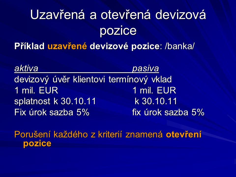 Uzavřená a otevřená devizová pozice Příklad uzavřené devizové pozice: /banka/ aktivapasiva devizový úvěr klientovitermínový vklad 1 mil.