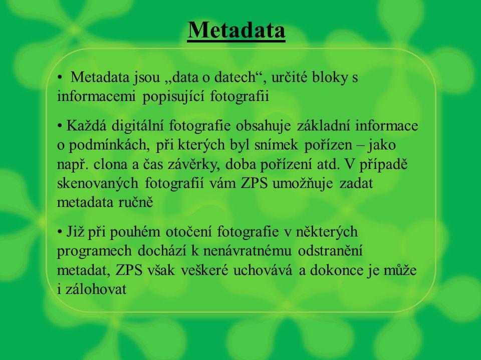 """Metadata Metadata jsou """"data o datech , určité bloky s informacemi popisující fotografii Každá digitální fotografie obsahuje základní informace o podmínkách, při kterých byl snímek pořízen – jako např."""