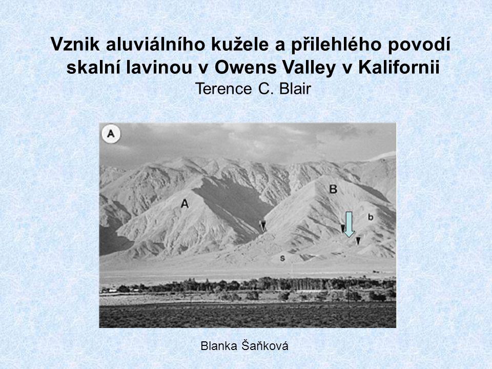 Náplavový kužel North Long John rozloha 0,83km 2 relativní výška reliéfu 270m průměrný sklon 8,8° délka 1750m nepravidelná morfologie dána: A, polohou (mezi 2rozsáhlejšími kužely) B, 3 různé části, lišící se původem sedimentů proud skalní laviny