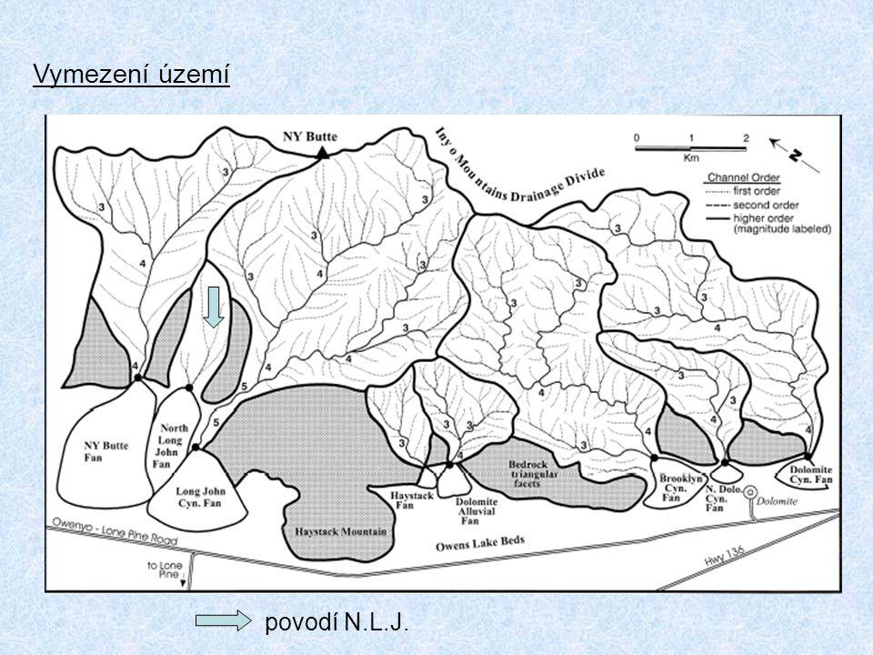 Letecký snímek zachycující významné znaky aluviálního kužele a přilehlého povodí a..vrchol kužele p..proximální suťový proud d..distální suťový proud s..čelo skalní laviny l..boční lavinové valy n..jezírko c..kanál skrze čelo laviny